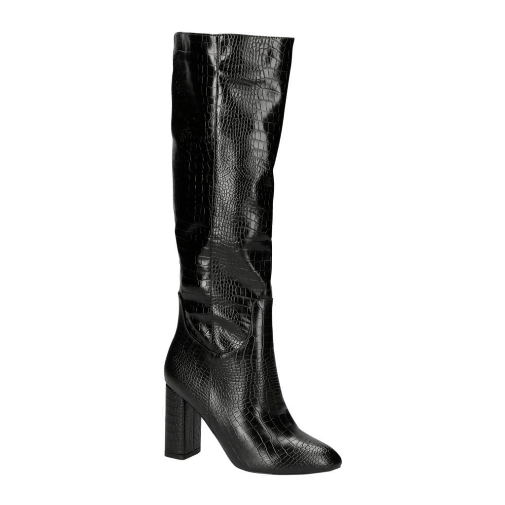 Raid   Marion-1 laarzen crocoprint zwart, Zwart