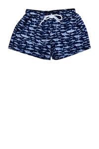Slipstop zwemshort met all over haaien print oranje, Marine/lichtblauw