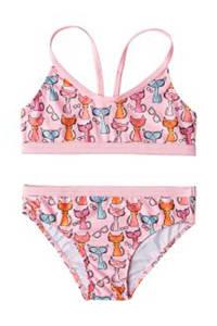 Slipstop bikini met all over kattenprint roze, Roze/lichtblauw
