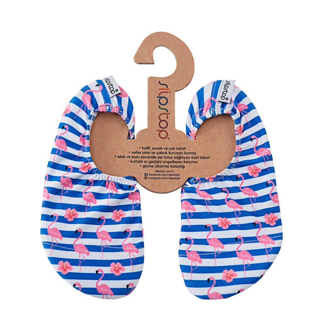 Slipstop Stripe zwemschoenen blauw/roze, Blauw/roze/wit