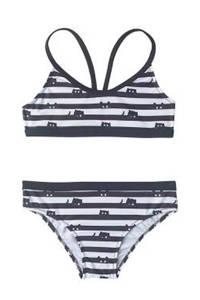 Slipstop gestreepte bikini met kattekopjes zwart, Zwart/wit