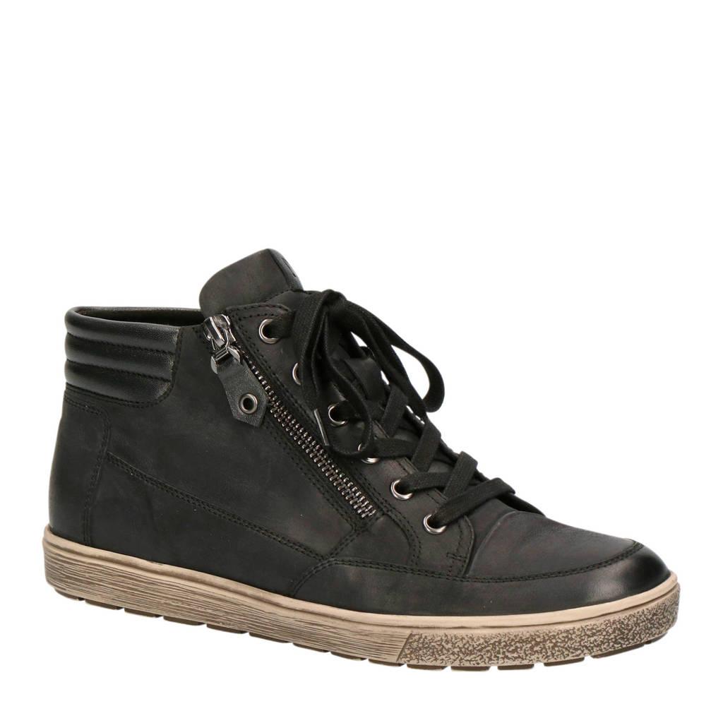 Caprice  comfort Manou leren veterschoenen zwart, Zwart