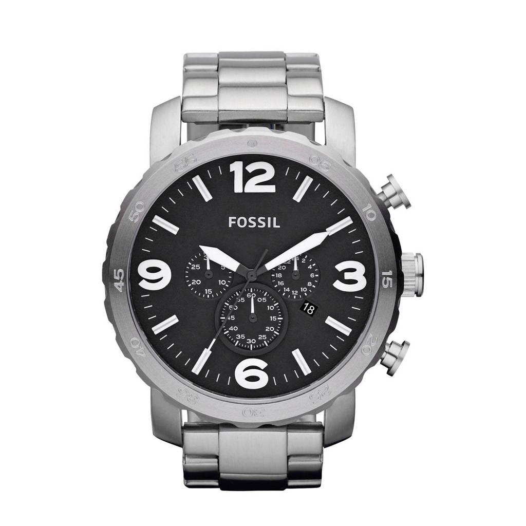 Fossil Nate Heren Horloge JR1353, Zilver