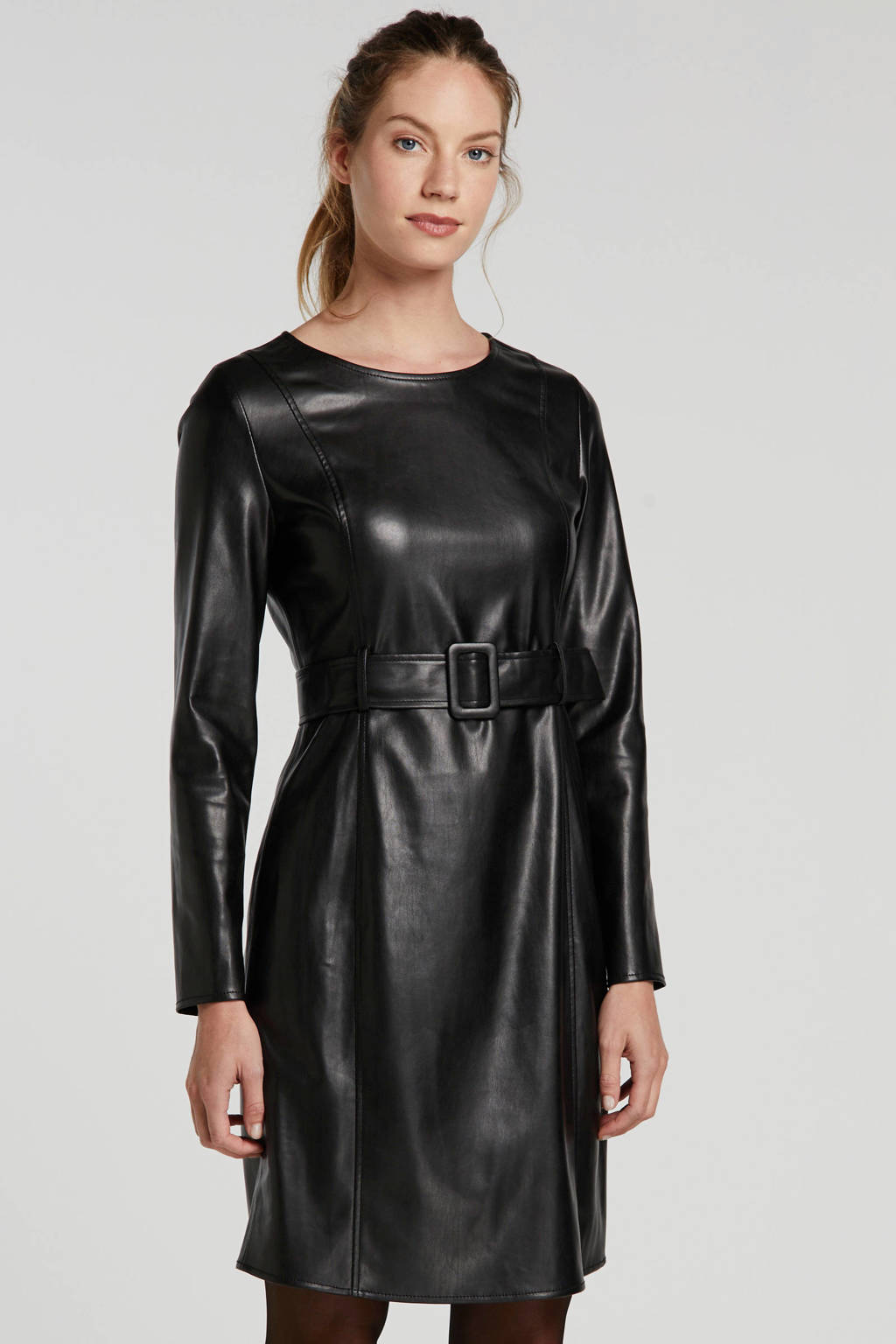 Ruby jurk van imitatieleer, Zwart
