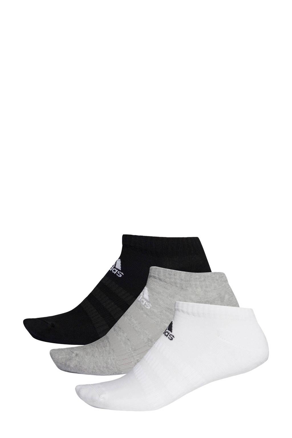 adidas   sportsokken (set van 3) zwart/grijs/wit, Wit/grijs/zwart