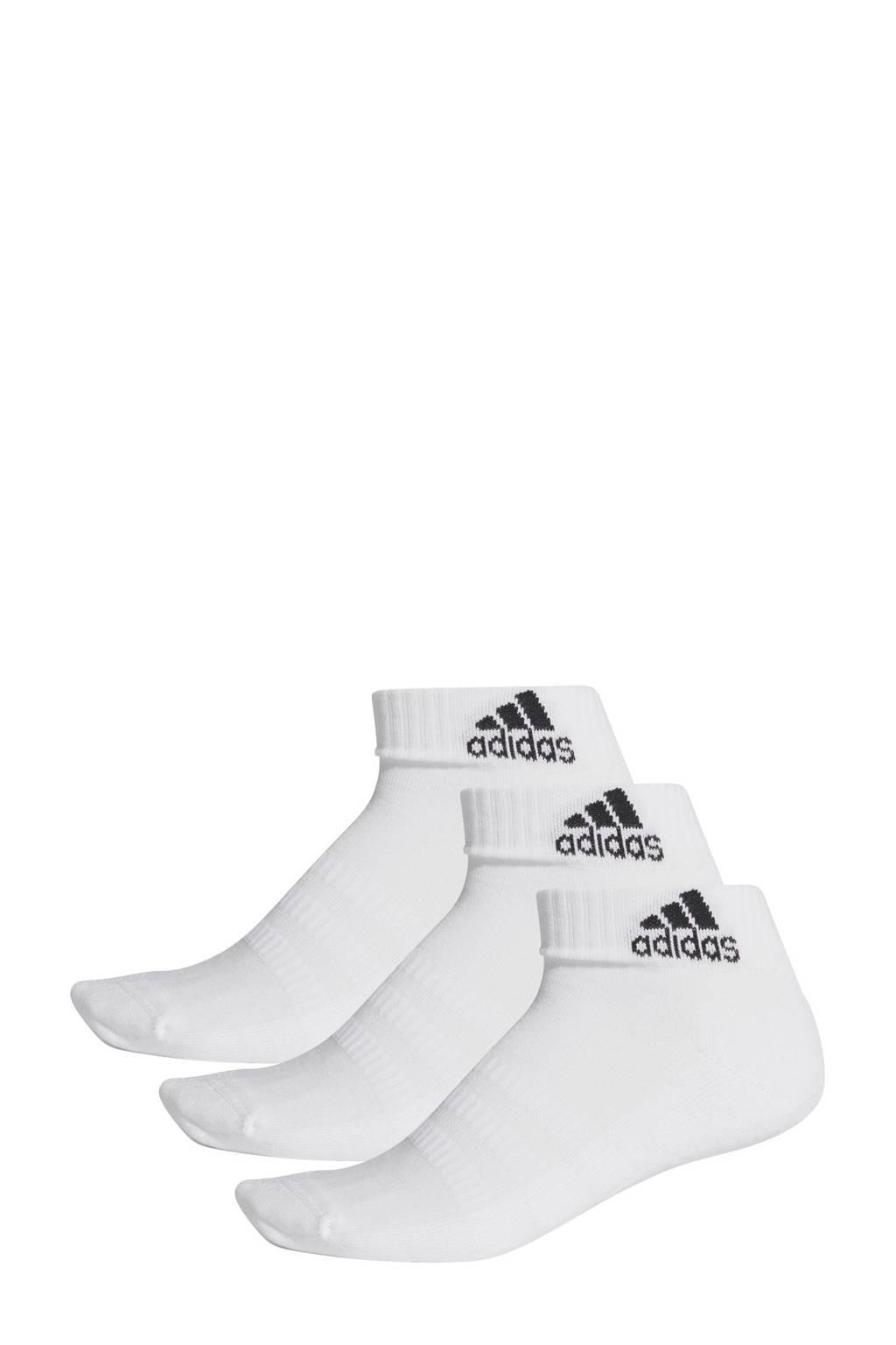 adidas Performance   sportsokken - set van 3 wit, Wit/zwart