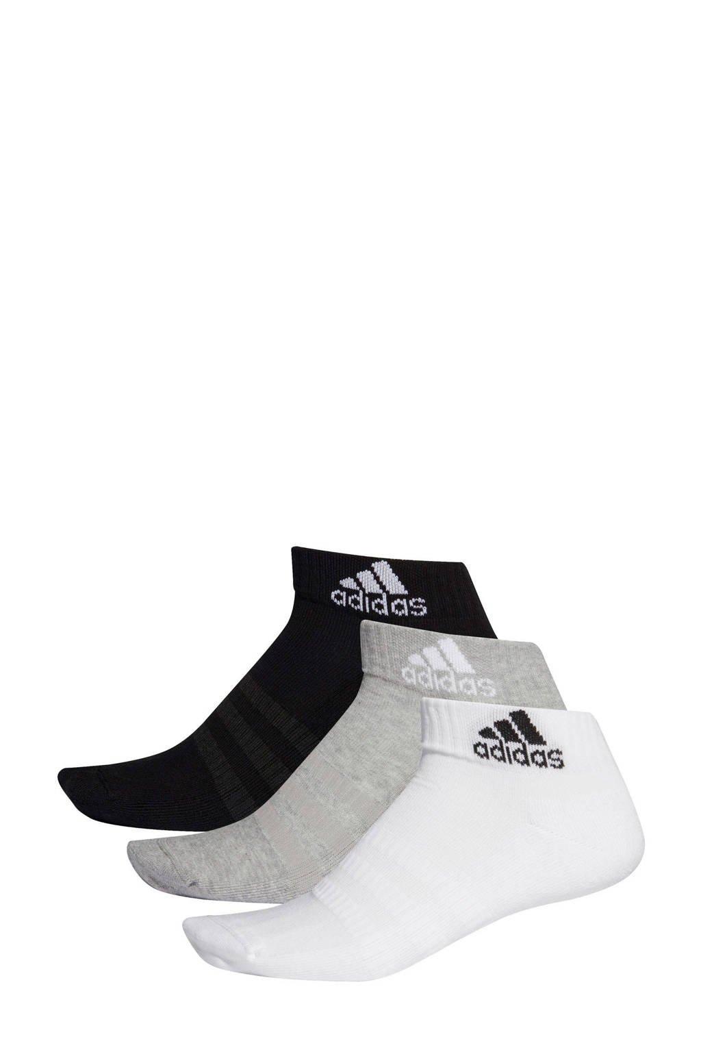 adidas performance   sportsokken (set van 3 paar) zwart/grijs/wit, Zwart/grijs/wit