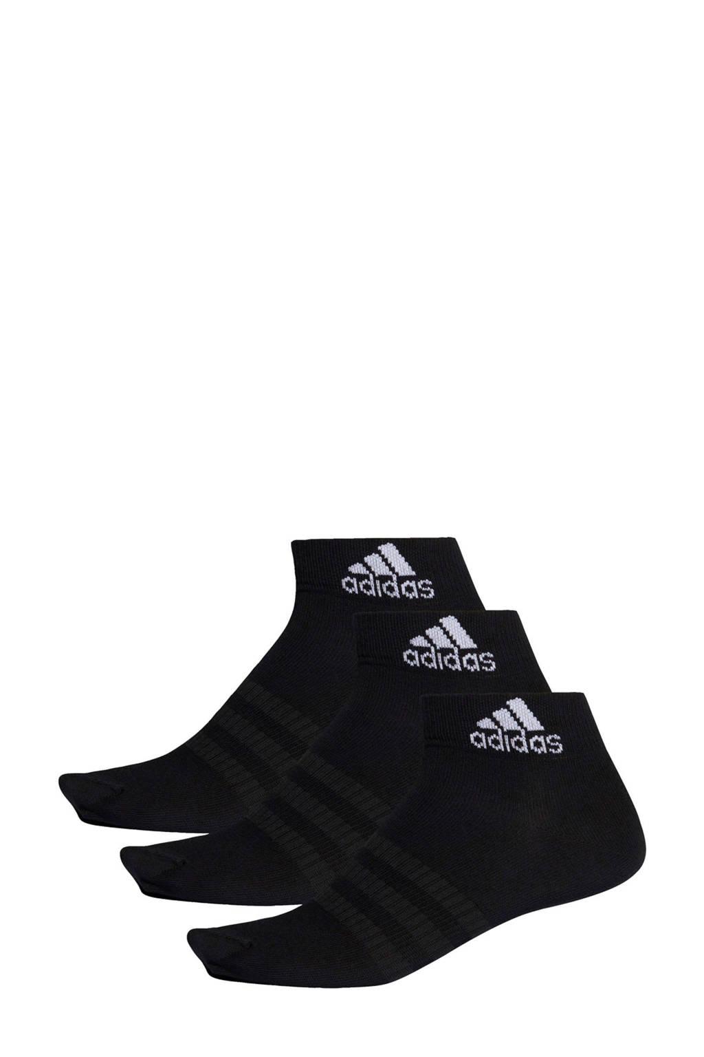 adidas   sportsokken (set van 3) zwart, Zwart