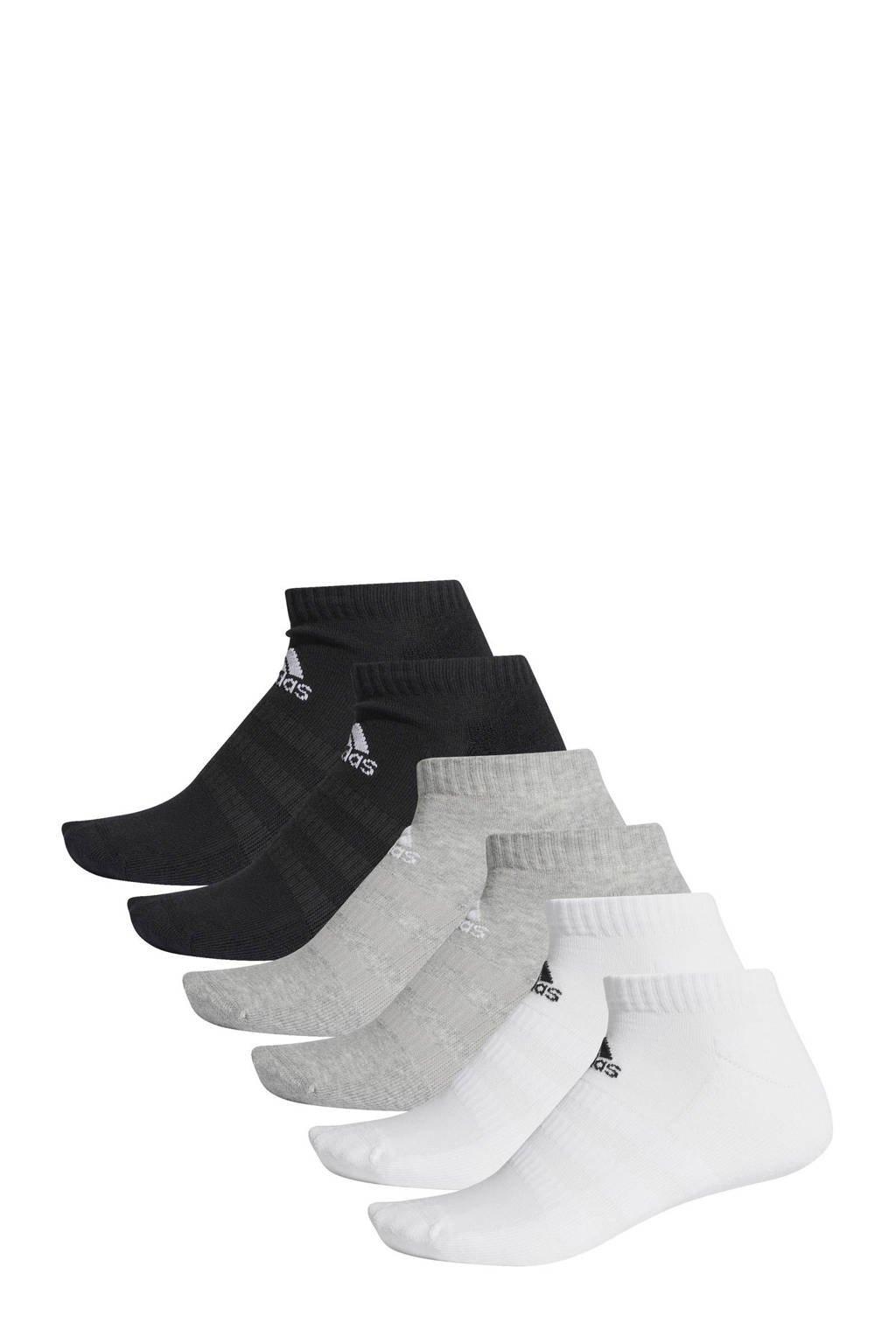 adidas   sportsokken (set van 6 paar) zwart/grijs/wit, Zwart/grijs/wit