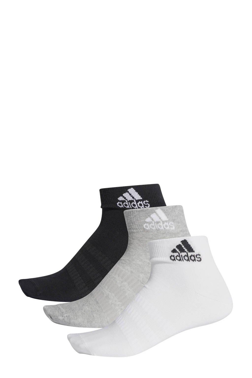 adidas Performance   sportsokken - set van 3 zwart/grijs/wit, Grijs/zwart/wit