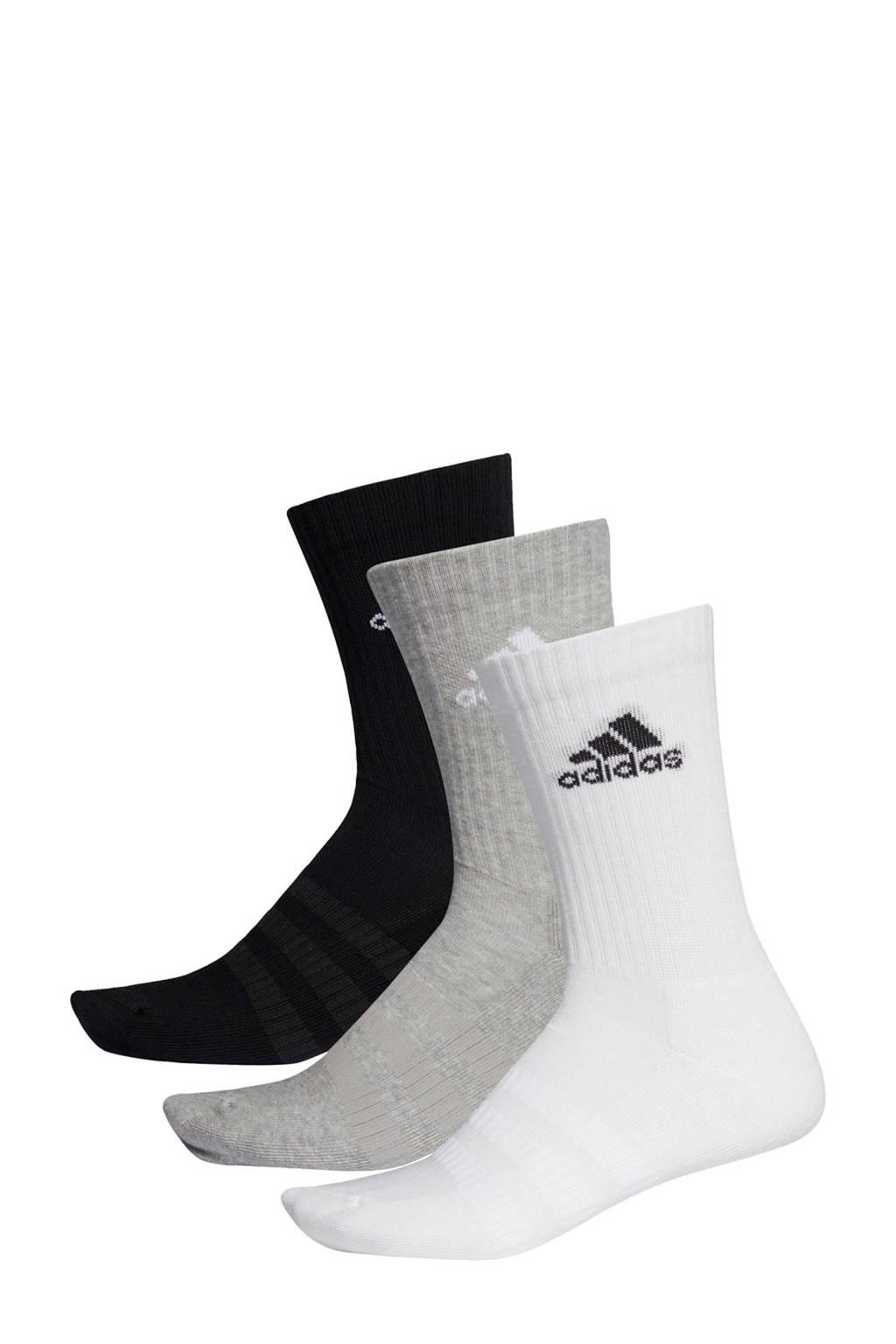 adidas   sportsokken (set van 3) zwart/grijs/wit, Zwart/grijs/wit
