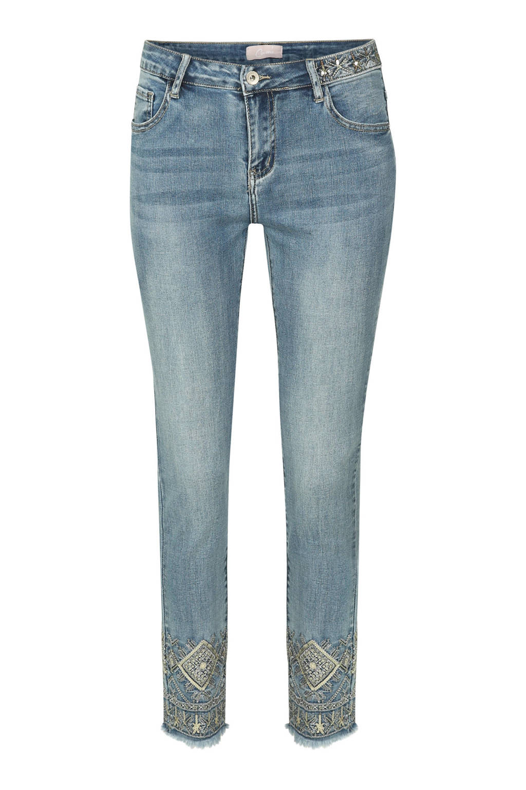Cassis cropped slim fit jeans met borduursels, Stonewashed
