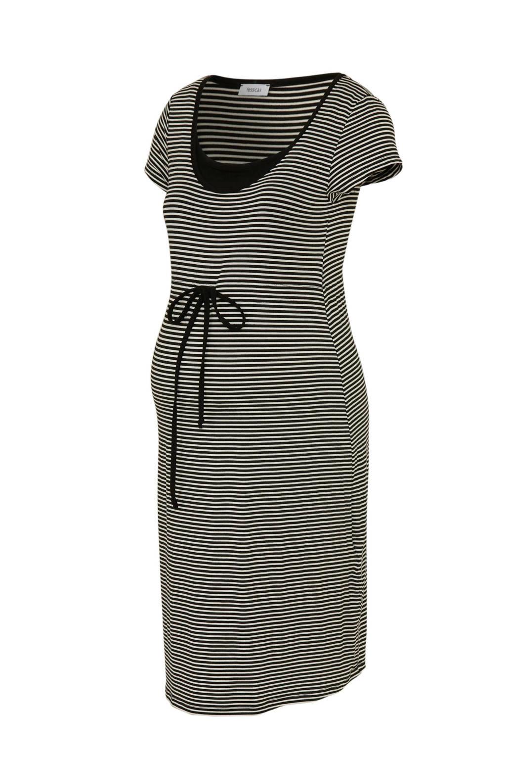 C&A Yessica zwangerschap + positiekleding gestreepte jurk zwart, Zwart/wit
