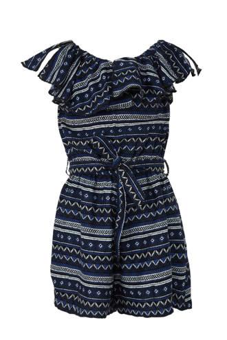 Here & There jumpsuit met grafische print donkerblauw/grijs/zwart