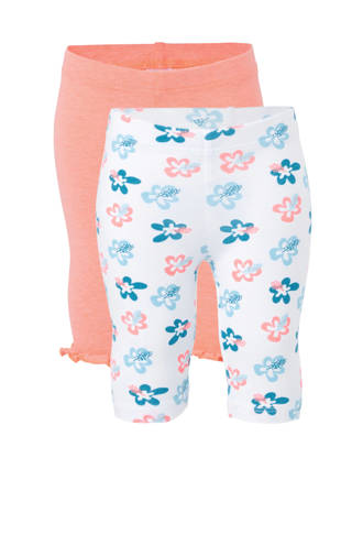 Baby Club legging met all over print wit/oranje  - set van 2