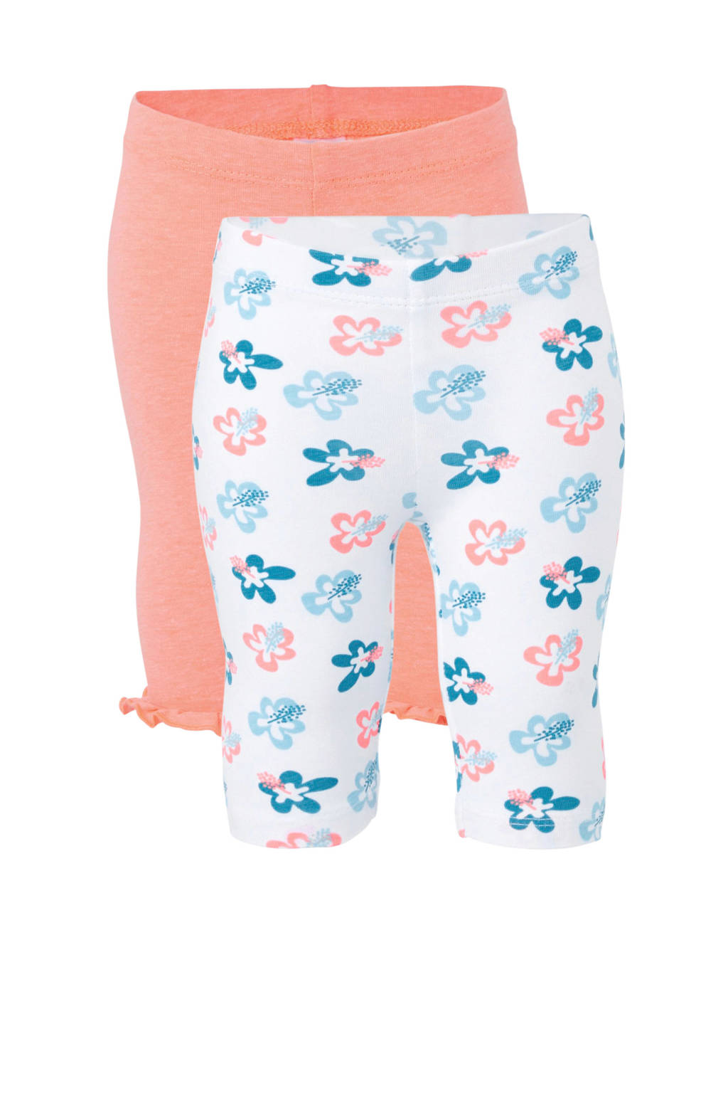 C&A Baby Club legging - set van 2, Wit/oranje