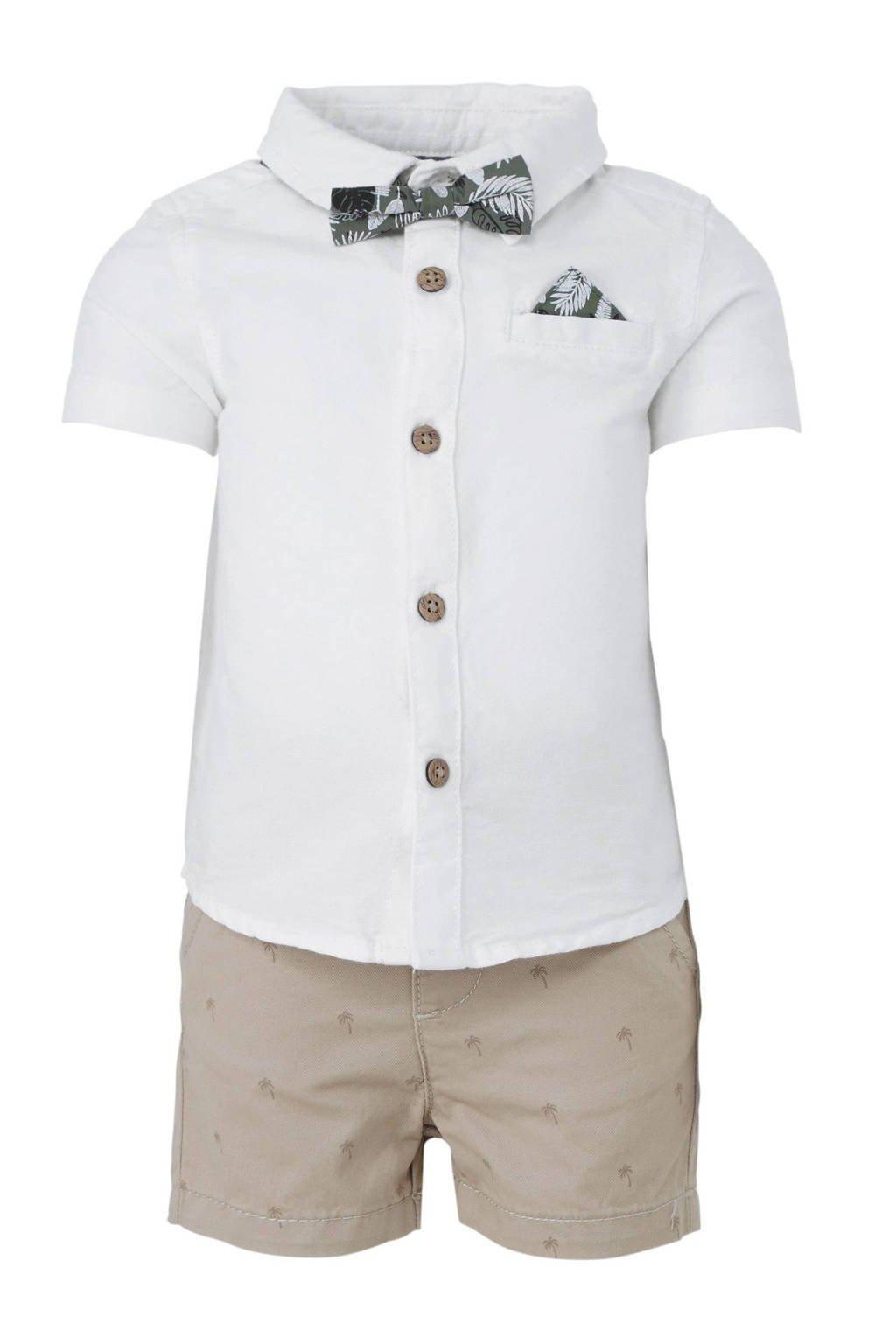 C&A Baby Club overhemd + short met palmbomen, Wit/beige
