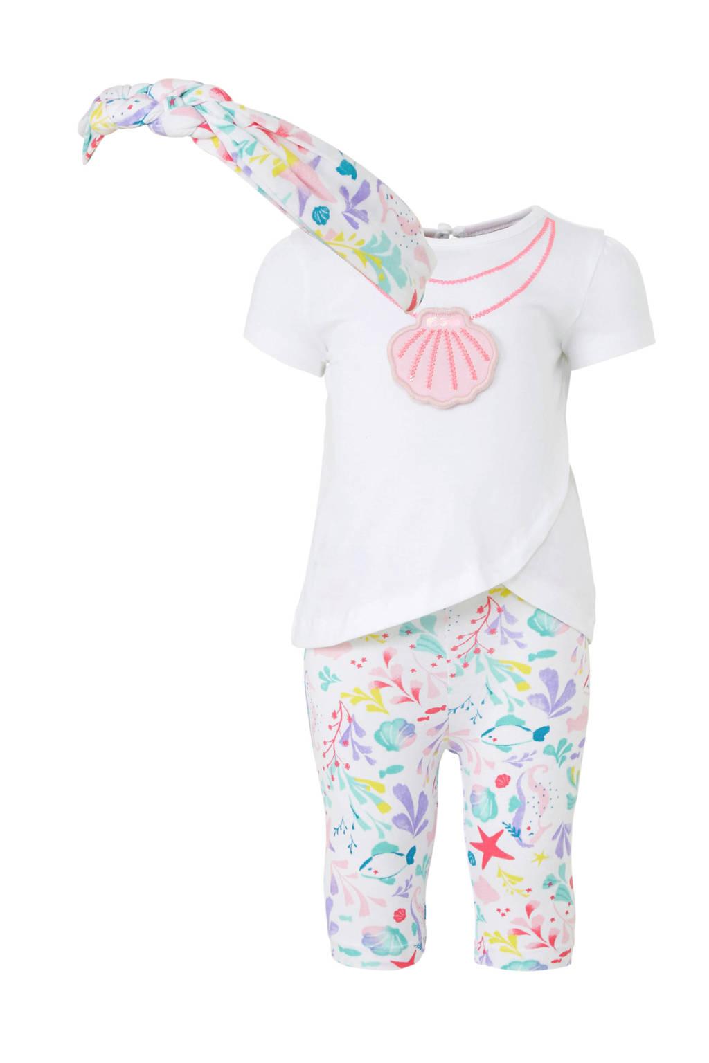 C&A Baby Club T-shirt + legging + haarband, Wit/roze/groen
