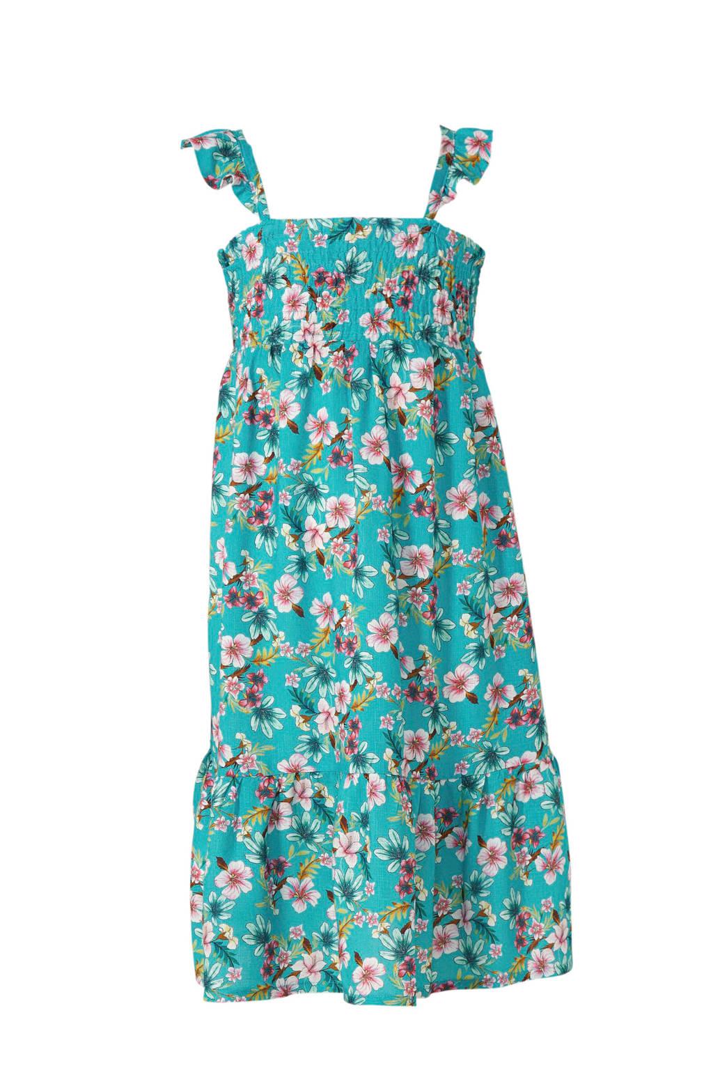 Mango Kids gebloemde jurk turquoise, Turquoise