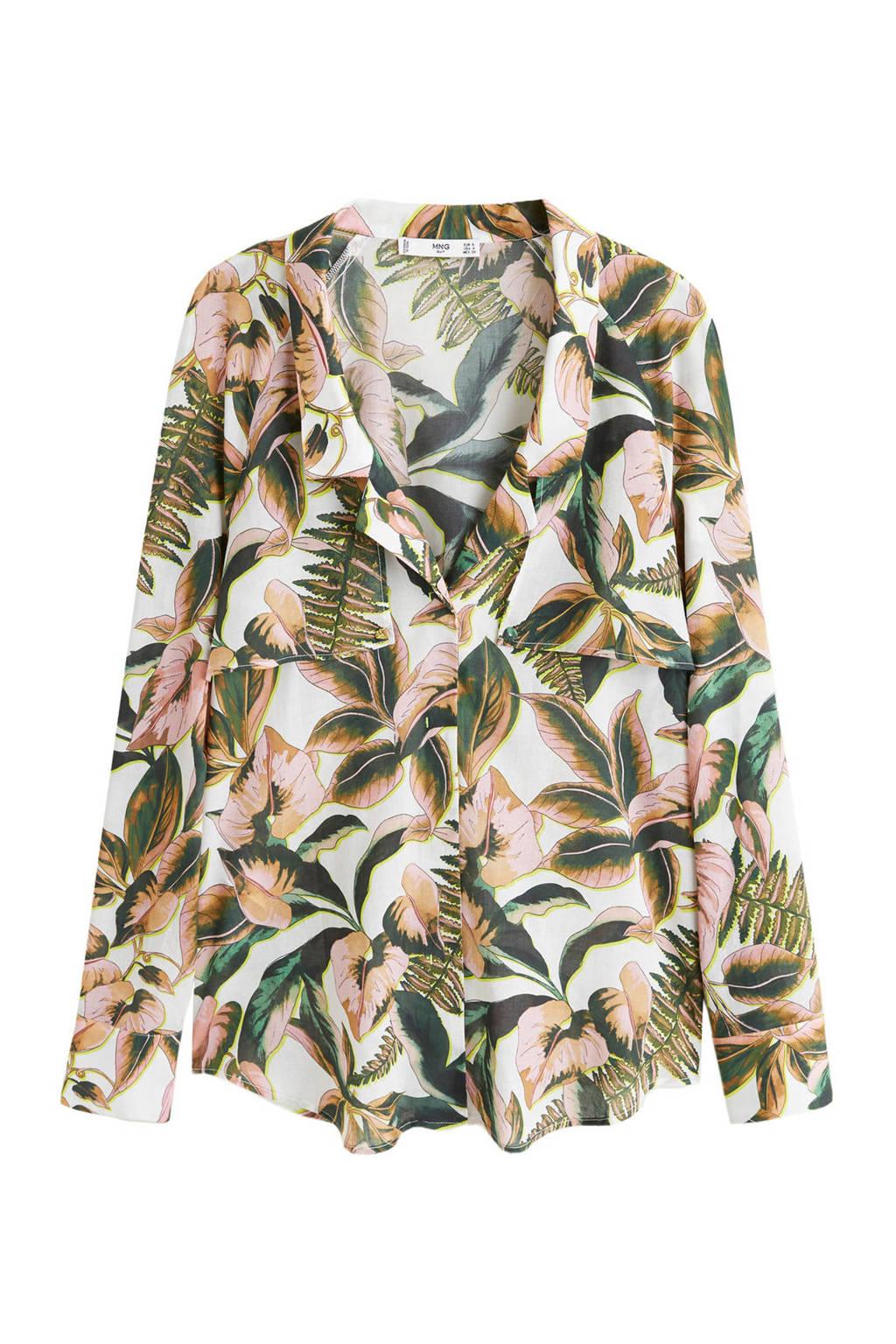 Mango gebloemde blouse, Ecru/groen/roze
