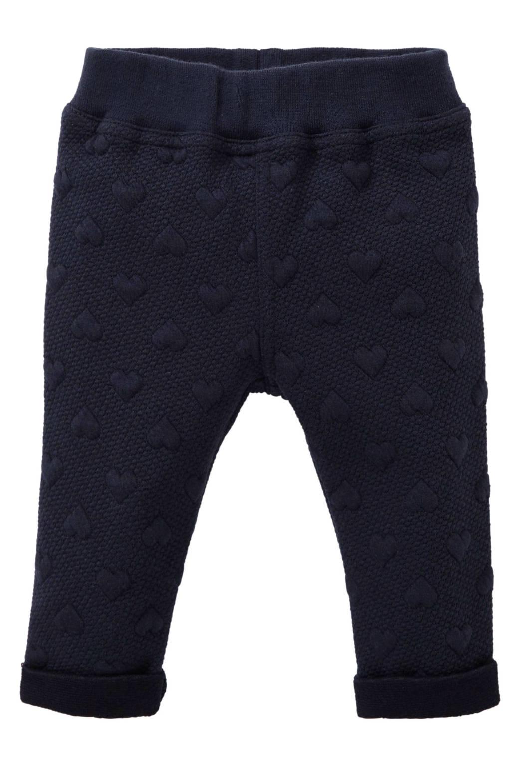 Quapi baby joggingbroek Xeleste met textuur donkerblauw, Donkerblauw