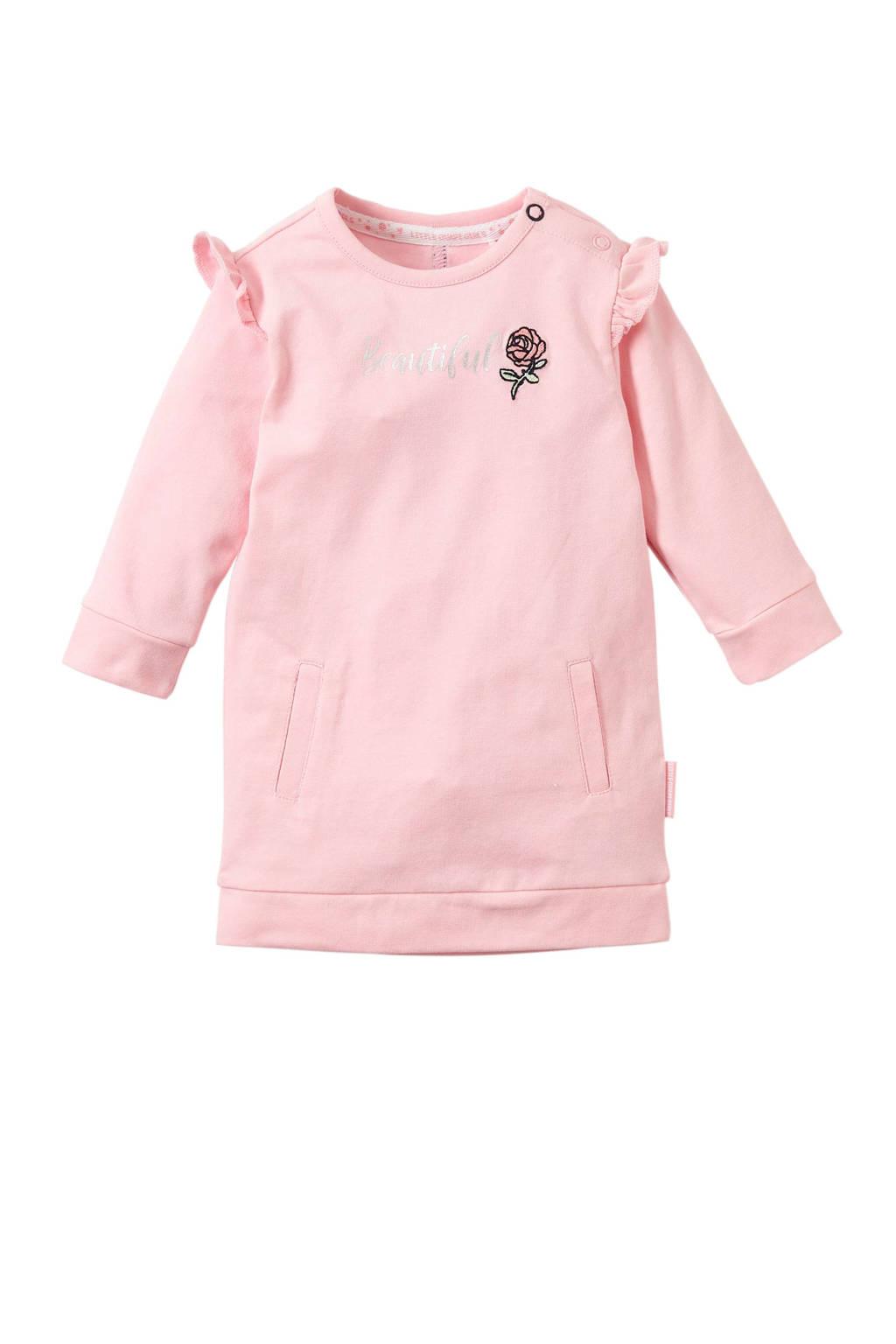 Quapi baby jurk Xanne met tekst roze, Lichtroze