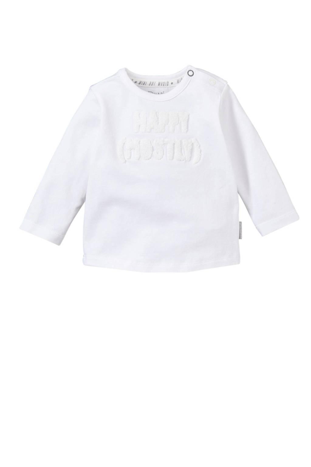 Quapi baby longsleeve Xari met tekst wit, Wit