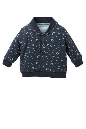 baby vest Xavir met all over print donkerblauw