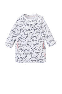 Quapi sweatjurk Xaomy met all over print wit/donkerblauw, Wit/donkerblauw