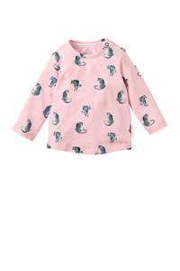 Quapi baby longsleeve Xaomy met all over print roze, Roze/grijs