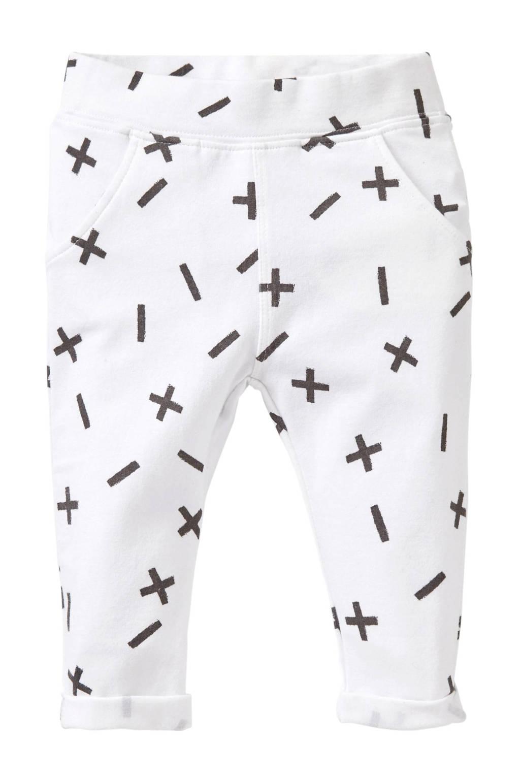 Quapi   baby joggingbroek Xess met all over print wit/grijs, Wit/grijs