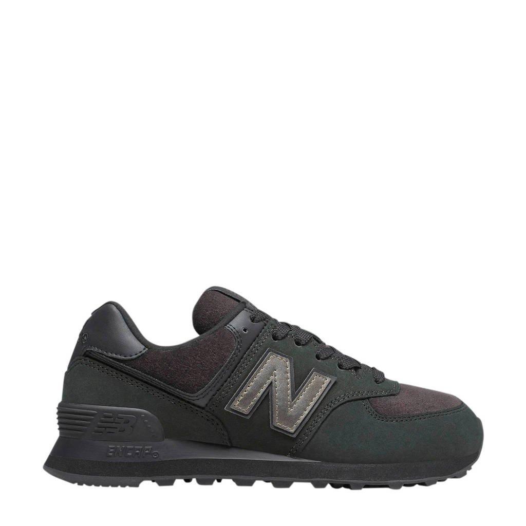 New Balance 574  suède sneakers zwart/grijs, Zwart/grijs