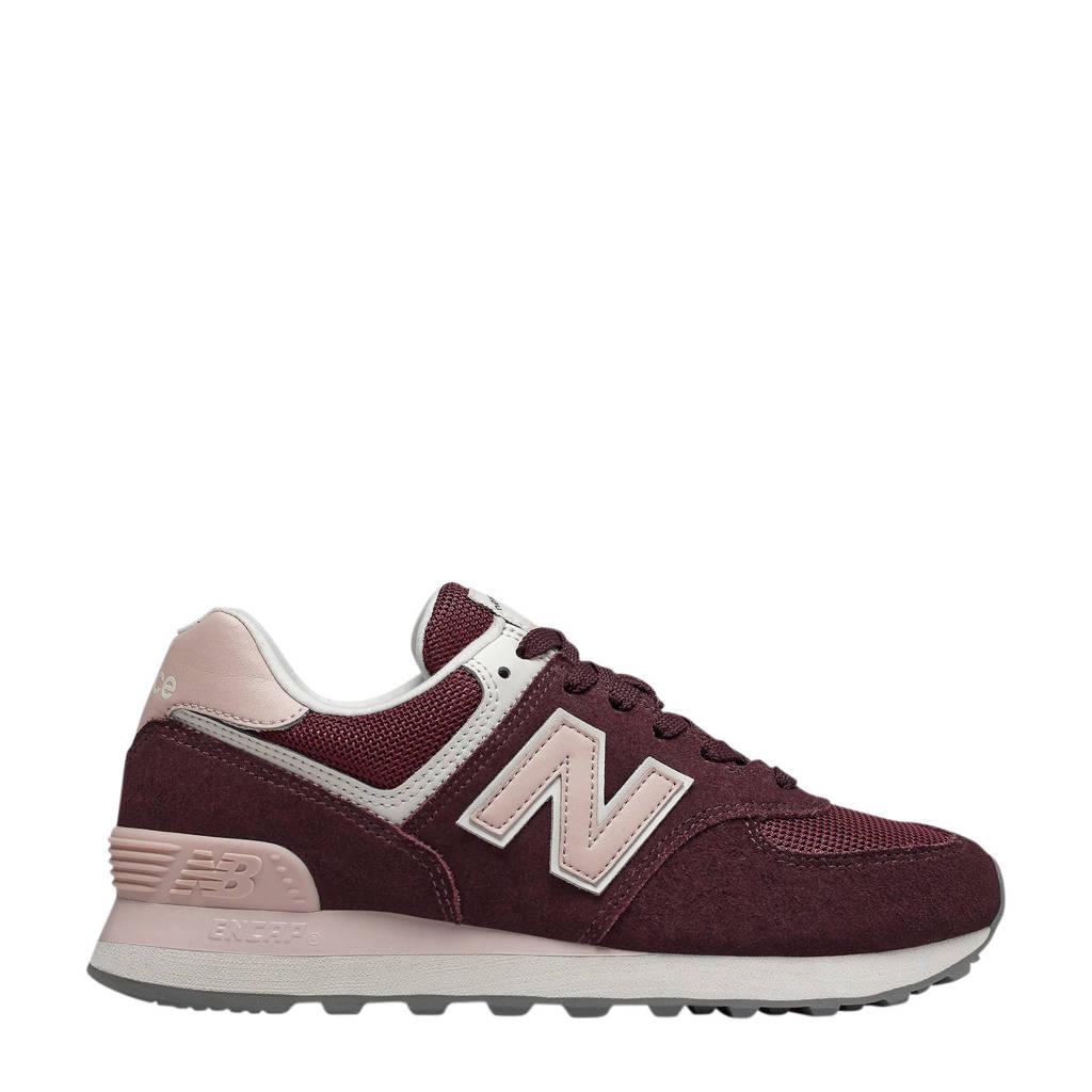 New Balance 574  suède sneakers donkerrood/roze, Donkerrood/roze
