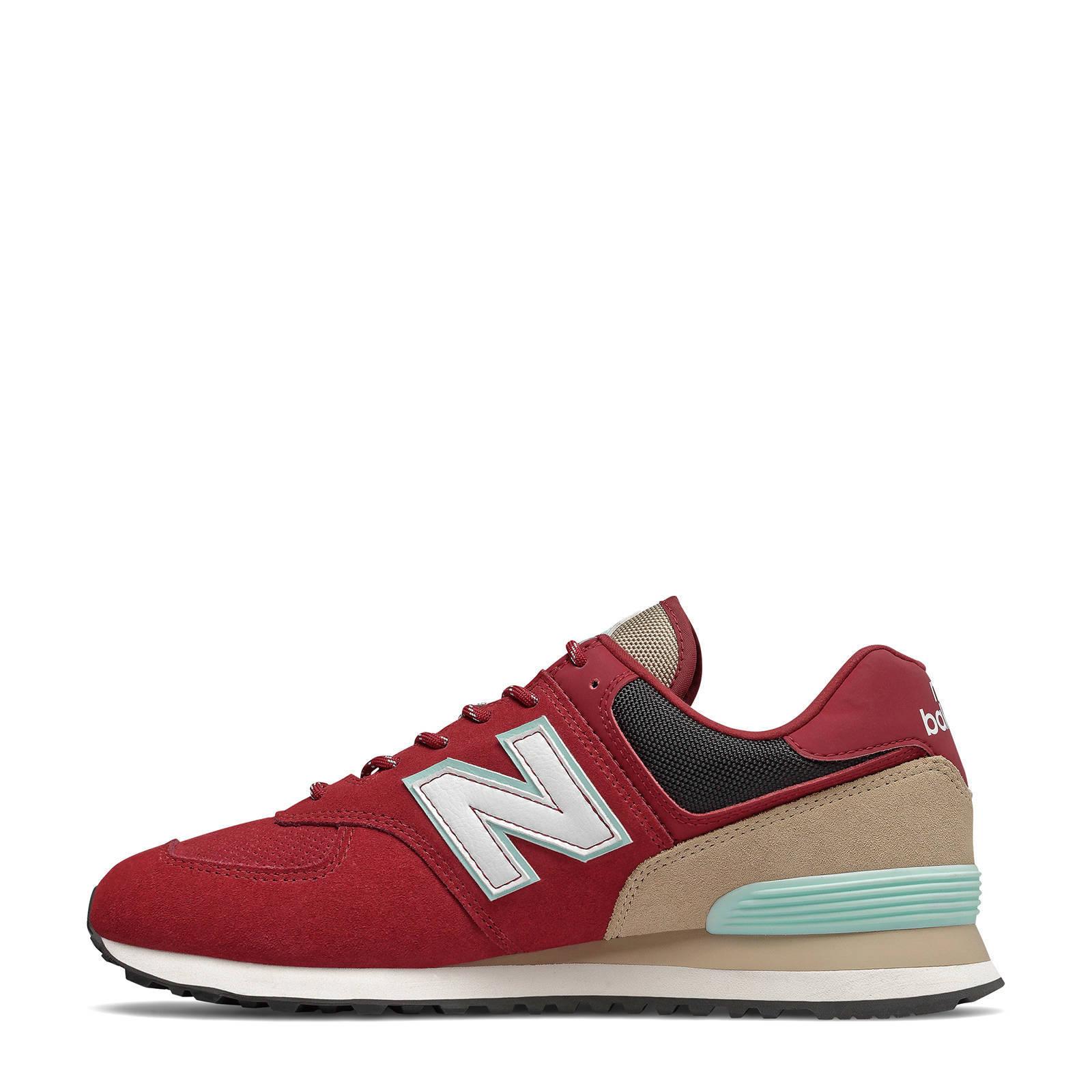 New Balance 574 sneakers rood/beige | wehkamp