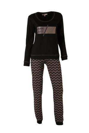 pyjama met printopdruk zwart/taupe