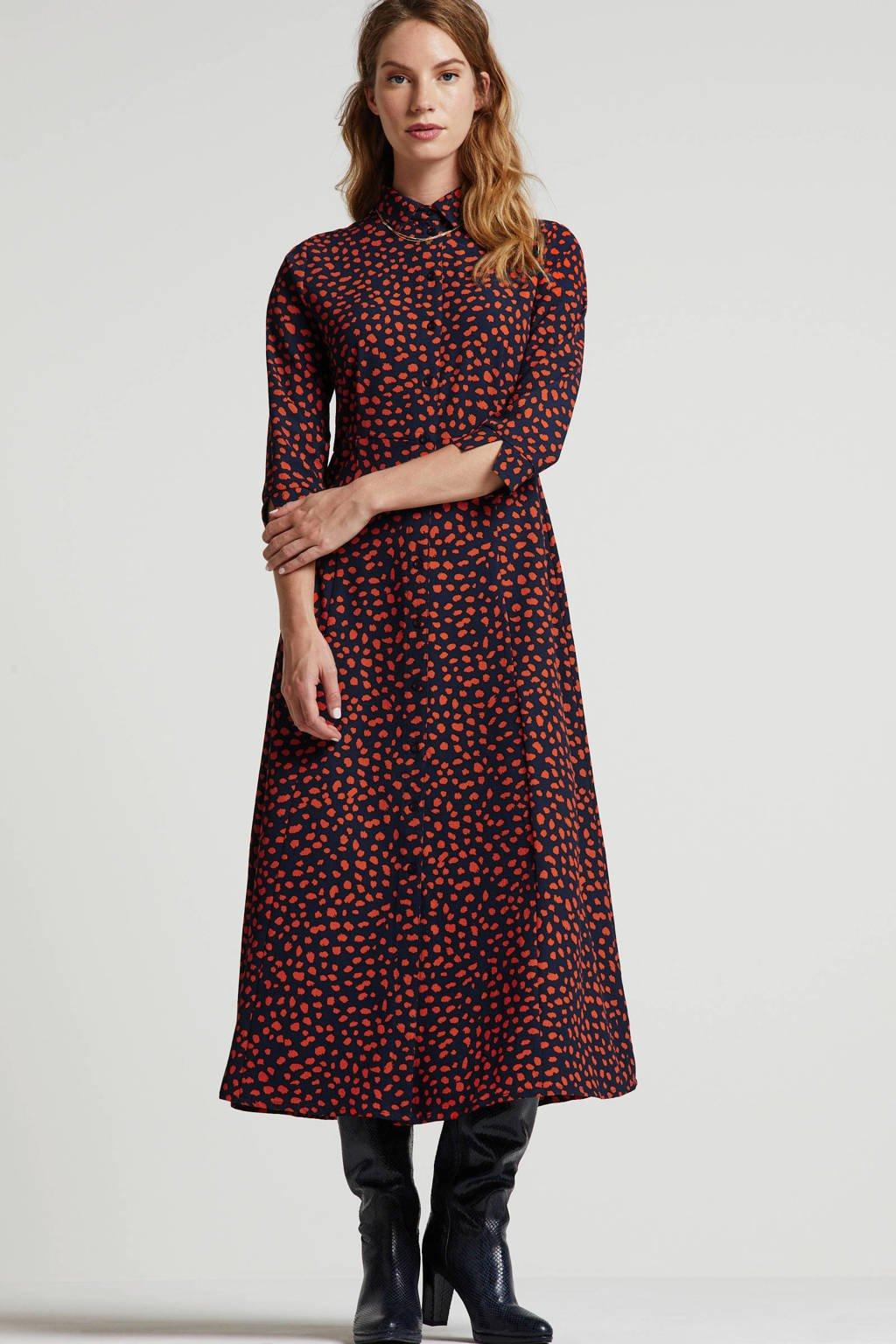 wehkamp maxi jurk met all over print donkerblauw, Brique/ecru/donkerrood
