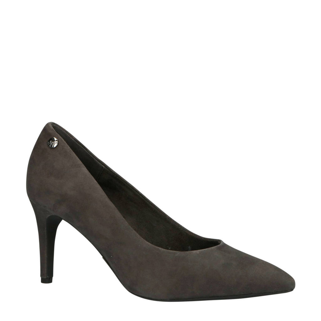 s.Oliver   Black Label suede pump antraciet, Antraciet