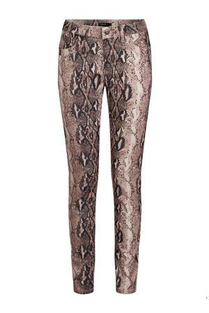 skinny broek met slangenprint beige