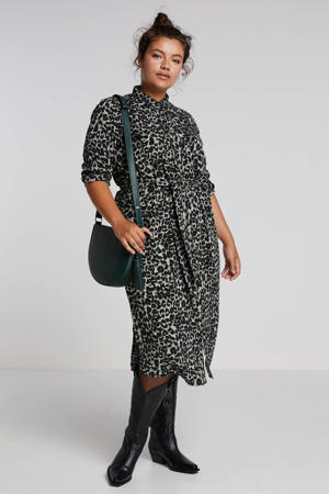 Plus size blousejurk met panterprint en ceintuur groen/zwart
