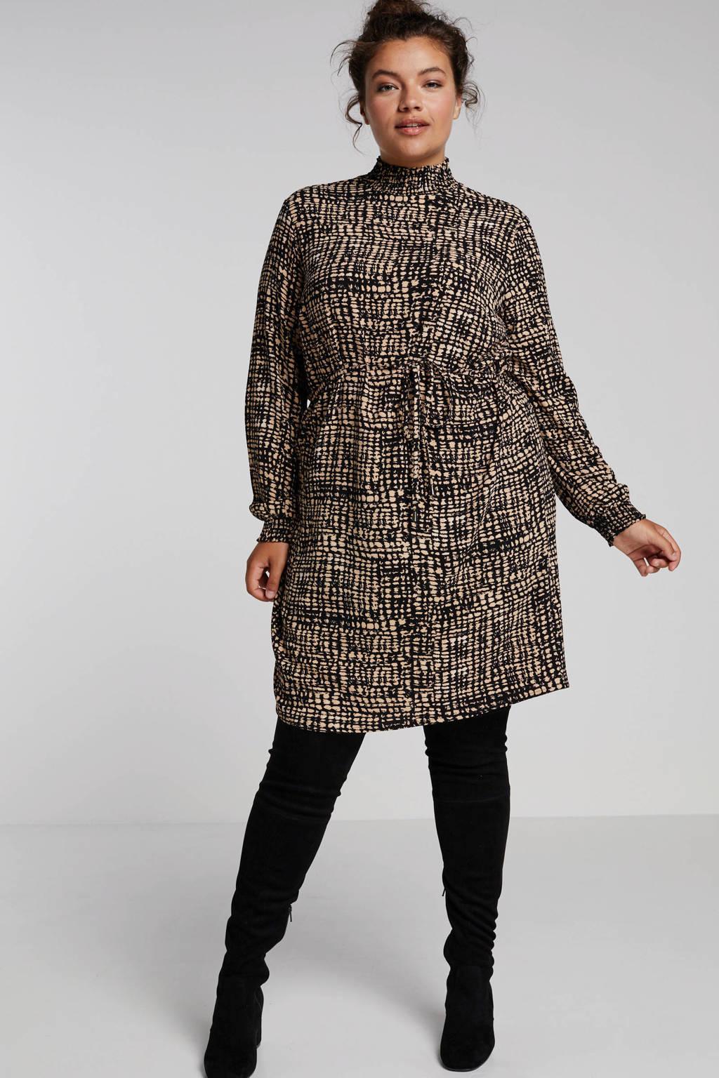 anytime jurk met all over print, Zwart/camel