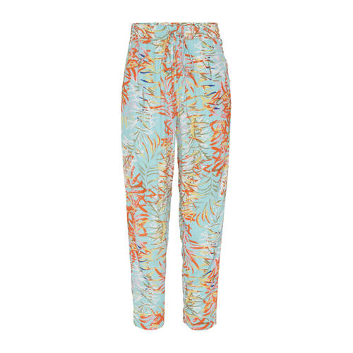 Didi tapered fit broek met all over print turquois