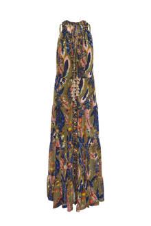 maxi jurk met all over print kaki