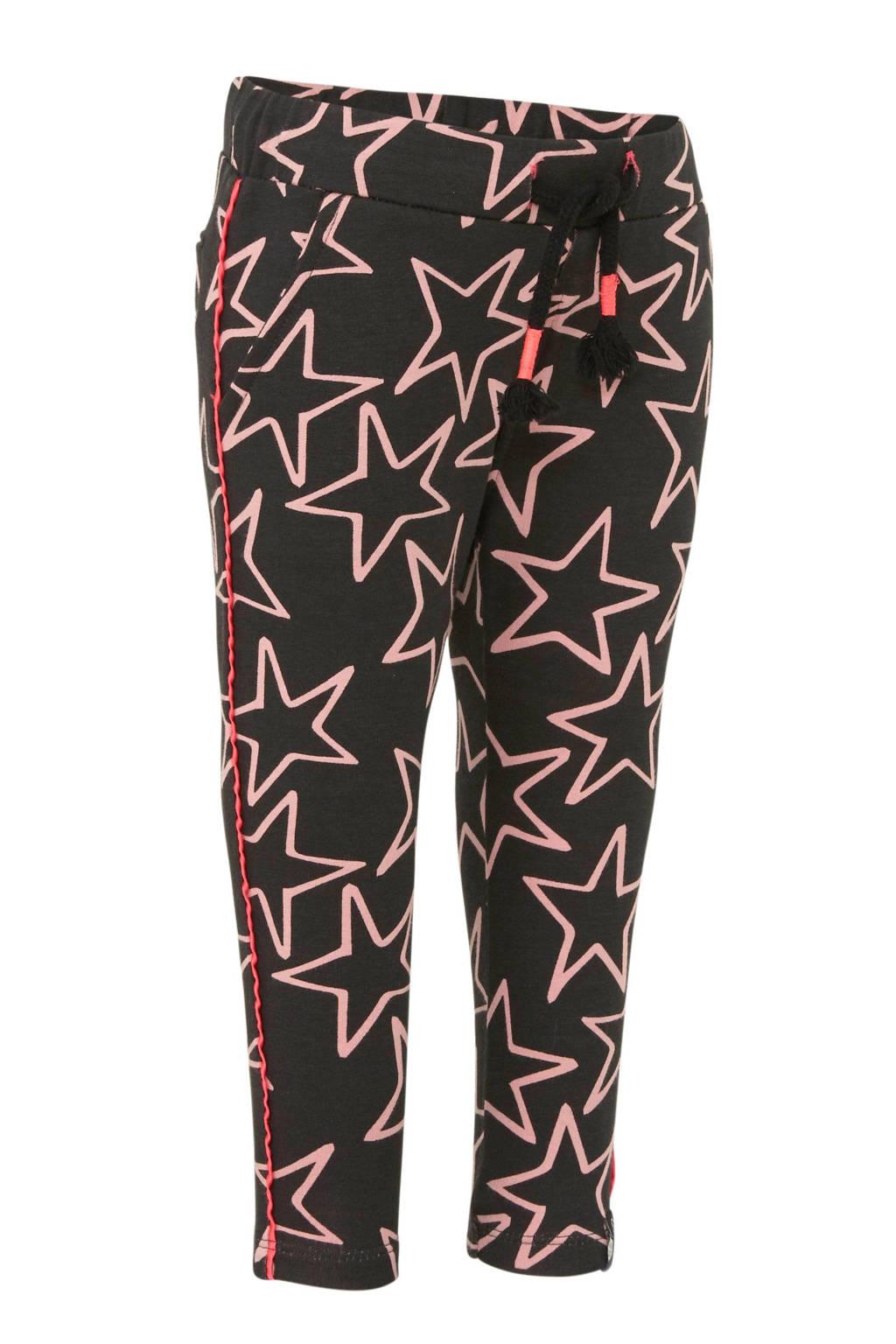 Beebielove high waist skinny broek met sterren antraciet, Antraciet