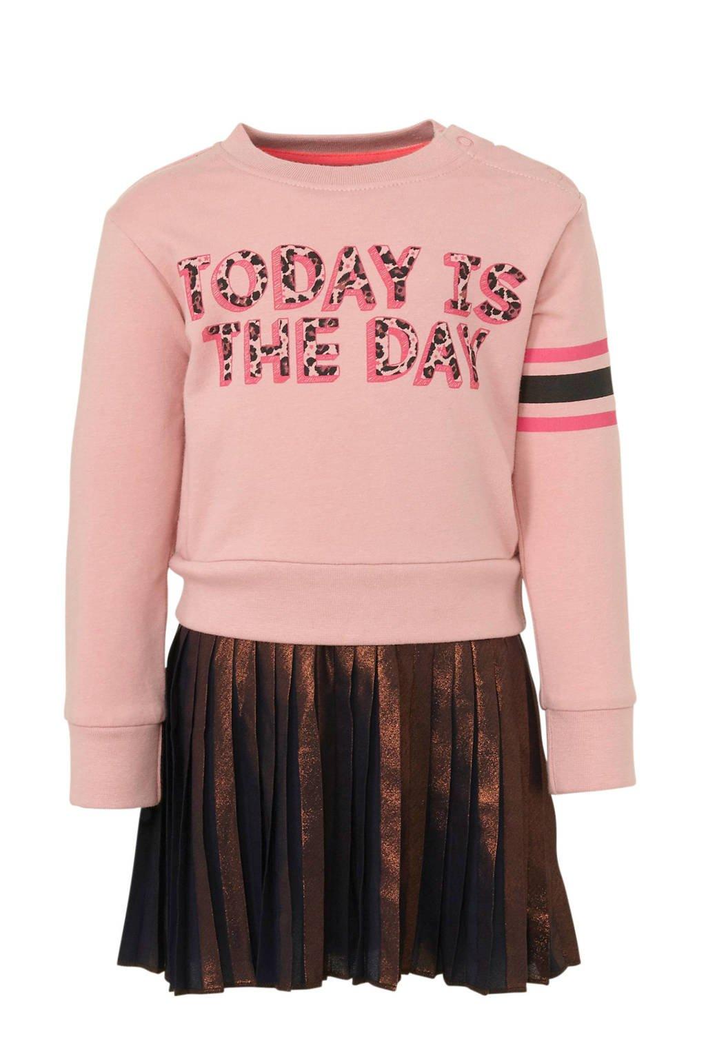 Beebielove jurk met tekst roze, Roze/bruin/zwarty