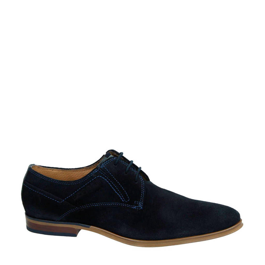 Bugatti   leren veterschoenen donkerblauw, Donkerblauw