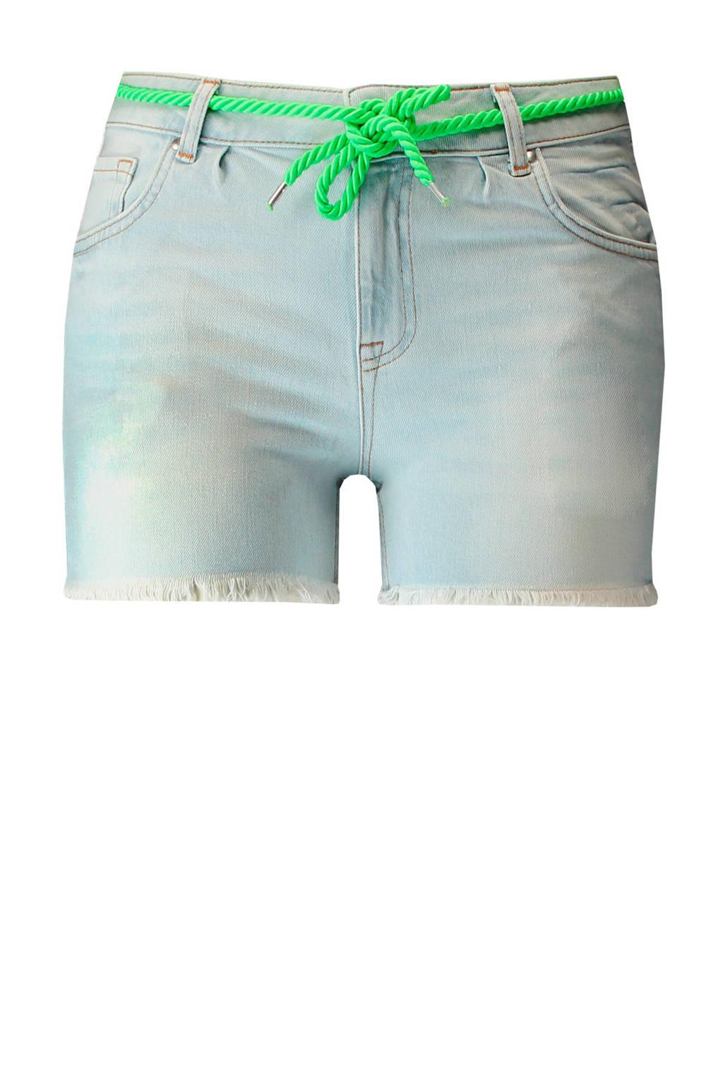 MS Mode regular fit jeans short met slijtage, Lichtblauw