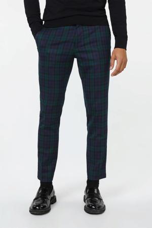 geruite skinny pantalon donkerblauw/groen