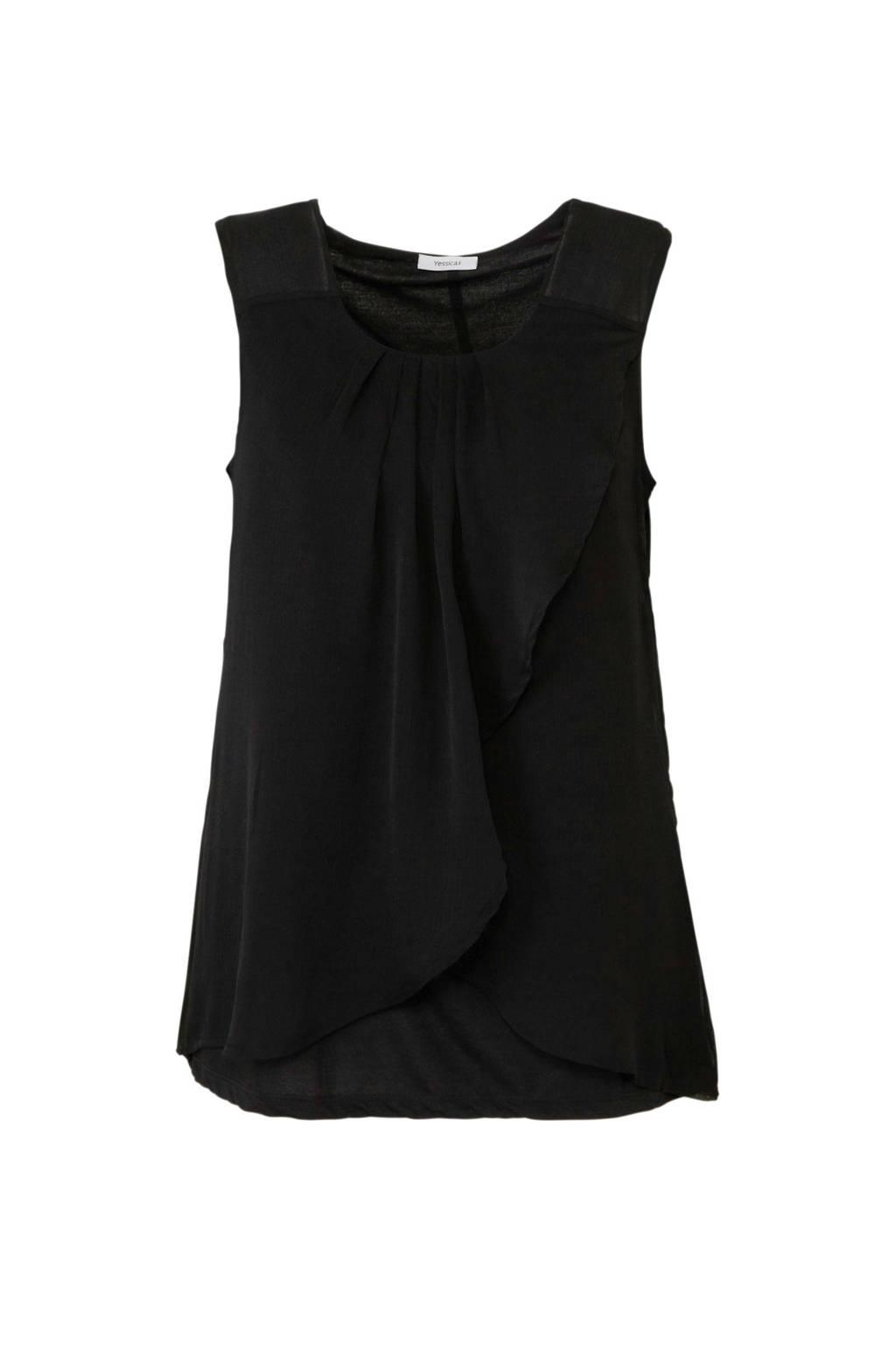 C&A XL Yessica semi-transparante top met overslag, Zwart