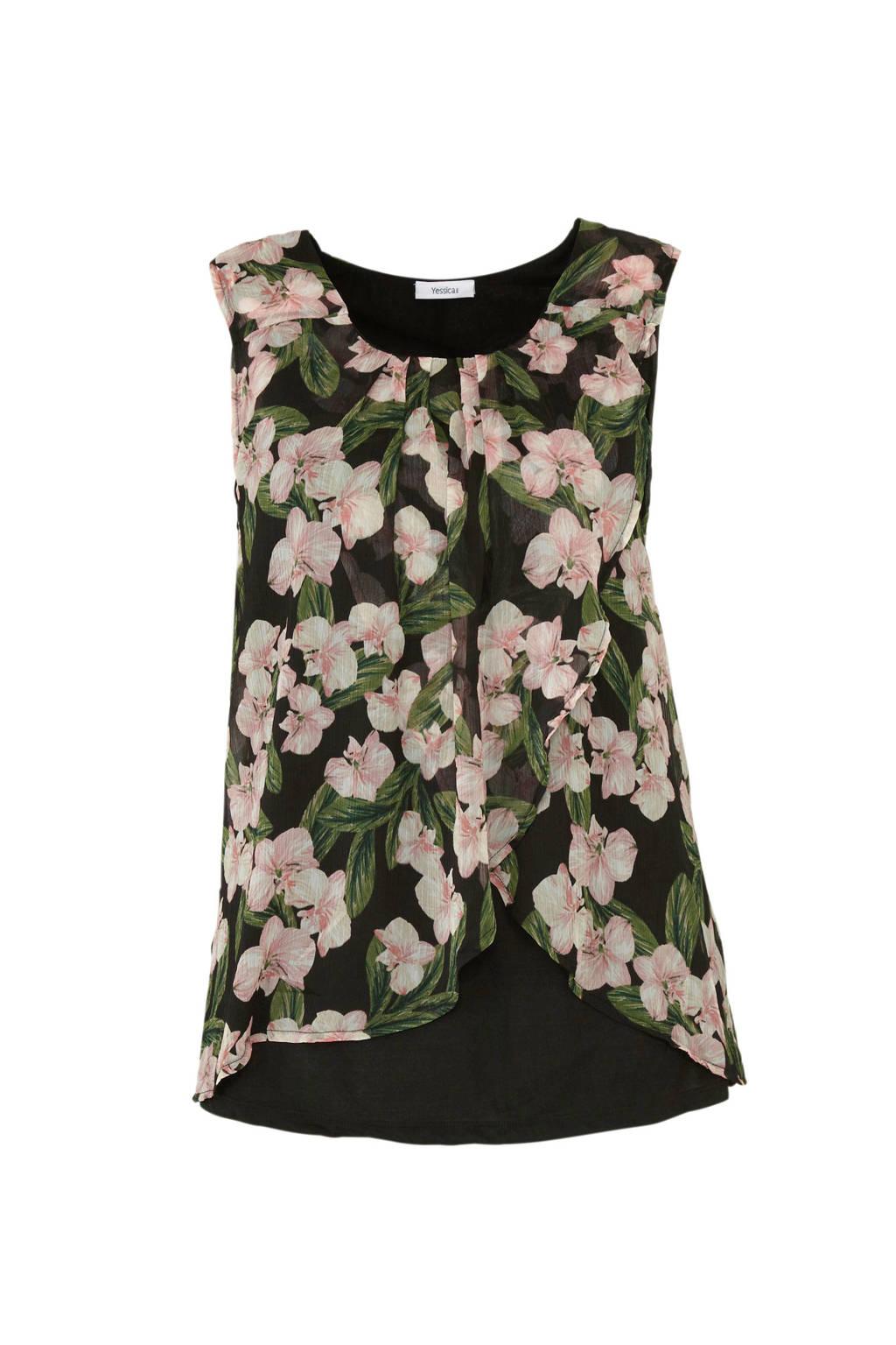 C&A XL Yessica gebloemde mouwloze top zwart, Zwart/roze/groen