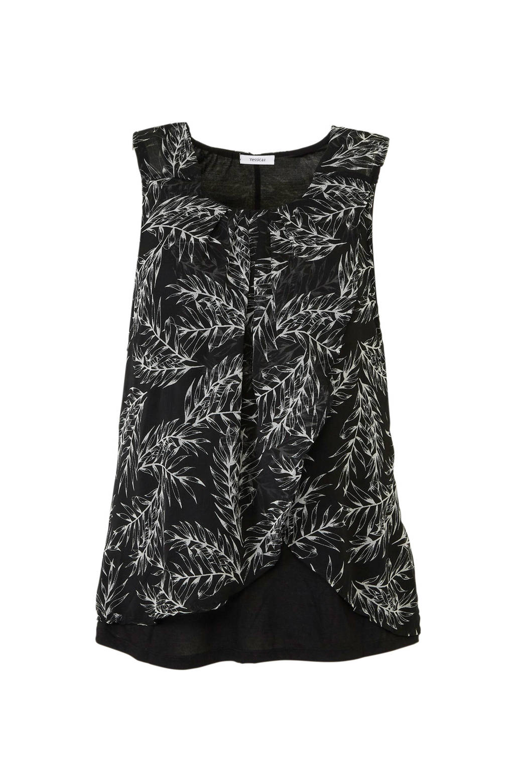C&A XL Yessica semi-transparante top met overslag, Zwart/wit